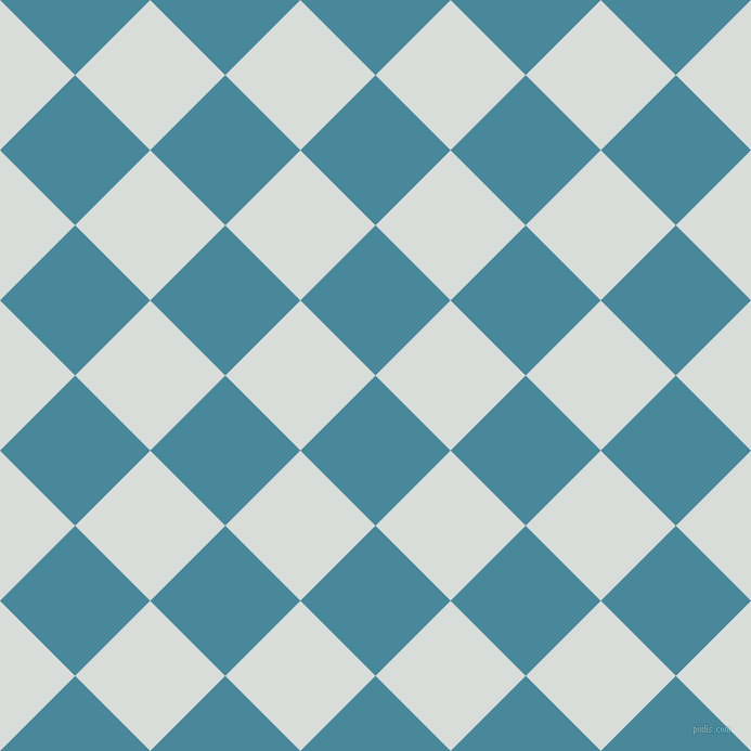 45/135 degree angle diagonal checkered chequered squares checker pattern checkers background, 98 pixel square size, , Hippie Blue and Mystic checkers chequered checkered squares seamless tileable