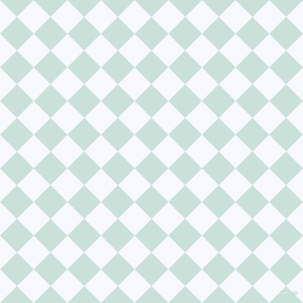 45/135 degree angle diagonal checkered chequered squares checker pattern checkers background, 49 pixel squares size, , Iceberg and Ghost White checkers chequered checkered squares seamless tileable