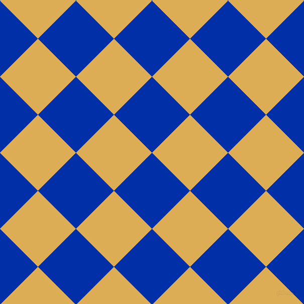 45/135 degree angle diagonal checkered chequered squares checker pattern checkers background, 107 pixel square size, , International Klein Blue and Rob Roy checkers chequered checkered squares seamless tileable