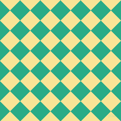 45/135 degree angle diagonal checkered chequered squares checker pattern checkers background, 50 pixel square size, , Jungle Green and Vis Vis checkers chequered checkered squares seamless tileable