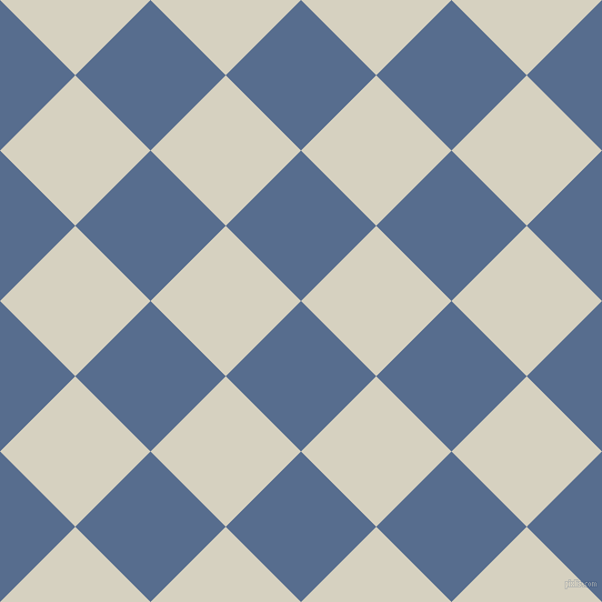 45/135 degree angle diagonal checkered chequered squares checker pattern checkers background, 117 pixel square size, , Kashmir Blue and Ecru White checkers chequered checkered squares seamless tileable