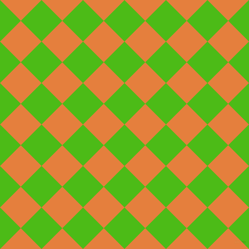 45/135 degree angle diagonal checkered chequered squares checker pattern checkers background, 96 pixel squares size, Kelly Green and Pizazz checkers chequered checkered squares seamless tileable