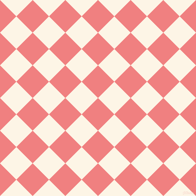 45/135 degree angle diagonal checkered chequered squares checker pattern checkers background, 74 pixel squares size, Light Coral and Old Lace checkers chequered checkered squares seamless tileable