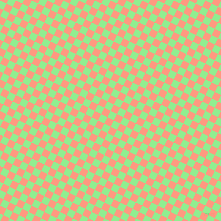 63/153 degree angle diagonal checkered chequered squares checker pattern checkers background, 23 pixel square size, , Light Green and Vivid Tangerine checkers chequered checkered squares seamless tileable