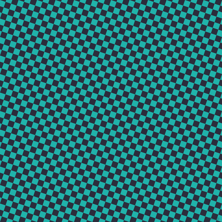 72/162 degree angle diagonal checkered chequered squares checker pattern checkers background, 19 pixel square size, , Light Sea Green and Black Rock checkers chequered checkered squares seamless tileable