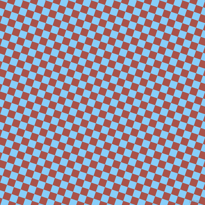 72/162 degree angle diagonal checkered chequered squares checker pattern checkers background, 24 pixel squares size, , Light Sky Blue and Apple Blossom checkers chequered checkered squares seamless tileable