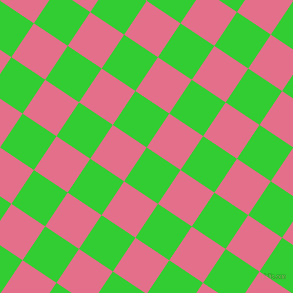56/146 degree angle diagonal checkered chequered squares checker pattern checkers background, 59 pixel square size, , Lime Green and Deep Blush checkers chequered checkered squares seamless tileable