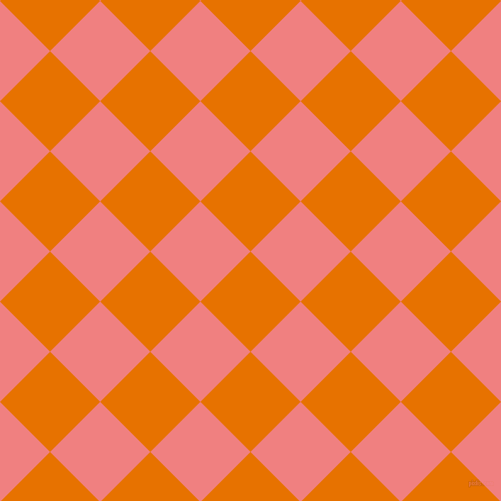 45/135 degree angle diagonal checkered chequered squares checker pattern checkers background, 100 pixel square size, , Mango Tango and Light Coral checkers chequered checkered squares seamless tileable