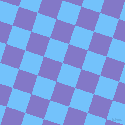 72/162 degree angle diagonal checkered chequered squares checker pattern checkers background, 65 pixel square size, , Maya Blue and Moody Blue checkers chequered checkered squares seamless tileable