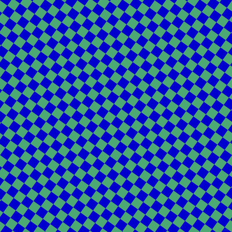 54/144 degree angle diagonal checkered chequered squares checker pattern checkers background, 31 pixel squares size, , Medium Blue and Ocean Green checkers chequered checkered squares seamless tileable