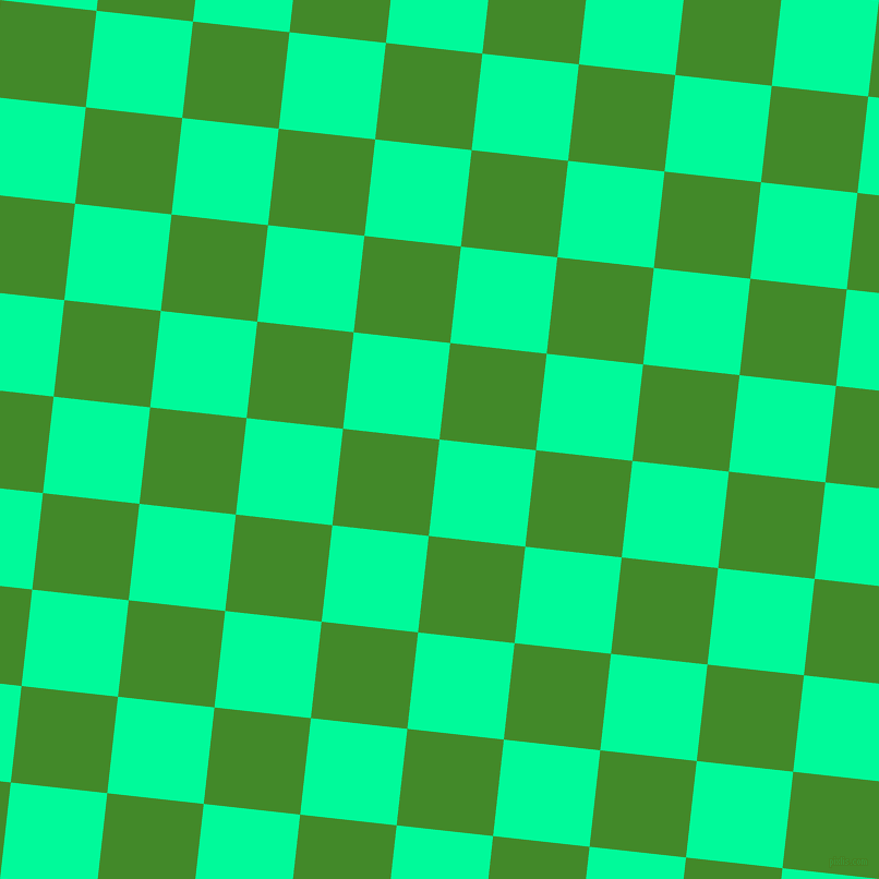 84/174 degree angle diagonal checkered chequered squares checker pattern checkers background, 89 pixel square size, , Medium Spring Green and La Palma checkers chequered checkered squares seamless tileable