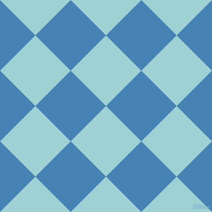 45/135 degree angle diagonal checkered chequered squares checker pattern checkers background, 102 pixel squares size, , Morning Glory and Steel Blue checkers chequered checkered squares seamless tileable