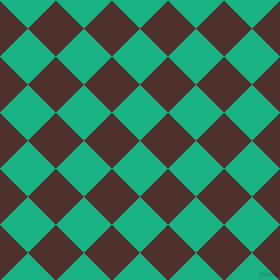 45/135 degree angle diagonal checkered chequered squares checker pattern checkers background, 77 pixel squares size, , Mountain Meadow and Espresso checkers chequered checkered squares seamless tileable