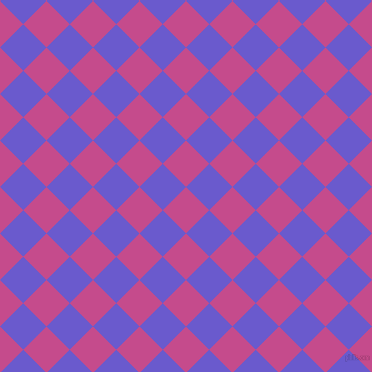 45/135 degree angle diagonal checkered chequered squares checker pattern checkers background, 48 pixel squares size, , Mulberry and Slate Blue checkers chequered checkered squares seamless tileable