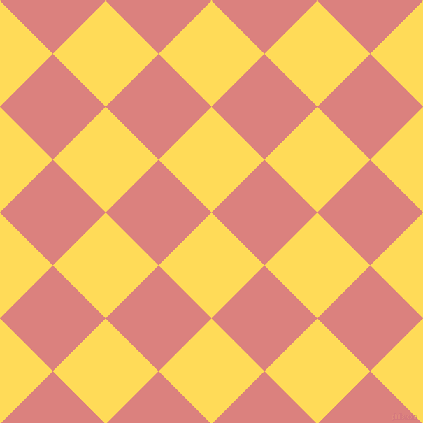 45/135 degree angle diagonal checkered chequered squares checker pattern checkers background, 107 pixel square size, , Mustard and Sea Pink checkers chequered checkered squares seamless tileable
