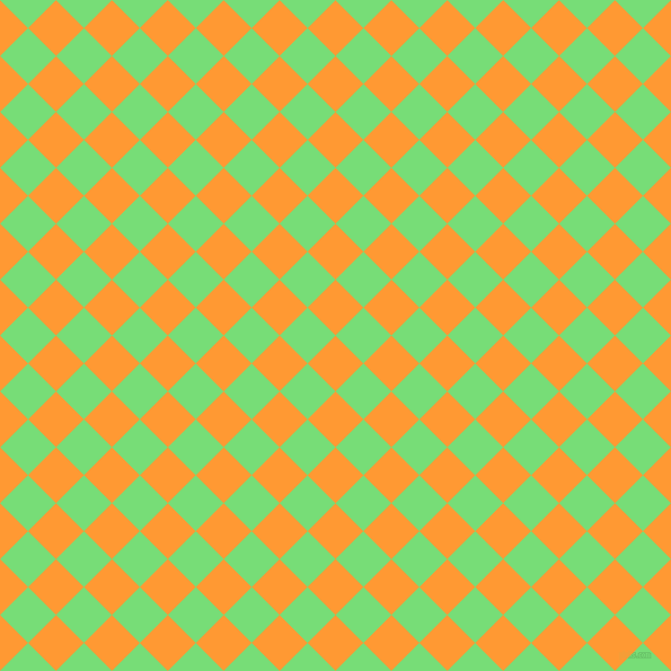 45/135 degree angle diagonal checkered chequered squares checker pattern checkers background, 44 pixel squares size, , Neon Carrot and Pastel Green checkers chequered checkered squares seamless tileable