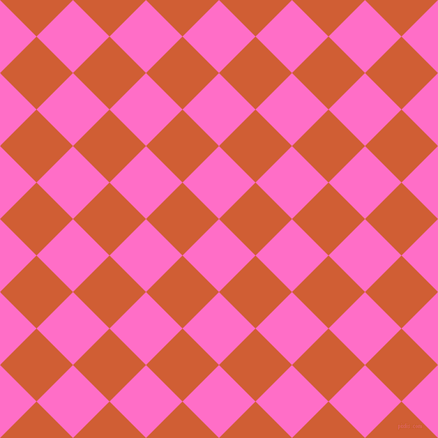 45/135 degree angle diagonal checkered chequered squares checker pattern checkers background, 74 pixel squares size, , Neon Pink and Chilean Fire checkers chequered checkered squares seamless tileable