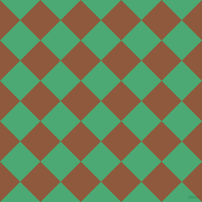 45/135 degree angle diagonal checkered chequered squares checker pattern checkers background, 96 pixel squares size, , Ocean Green and Rope checkers chequered checkered squares seamless tileable