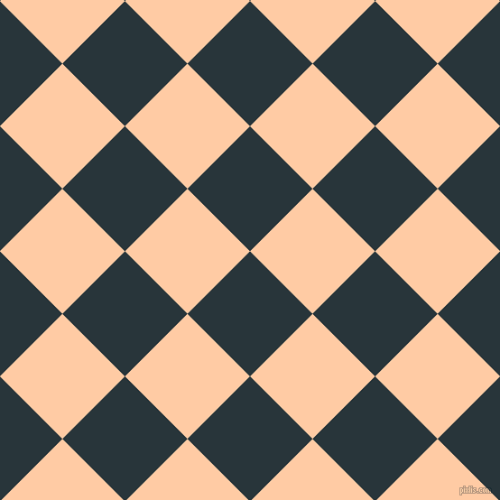 45/135 degree angle diagonal checkered chequered squares checker pattern checkers background, 98 pixel square size, , Oxford Blue and Peach checkers chequered checkered squares seamless tileable
