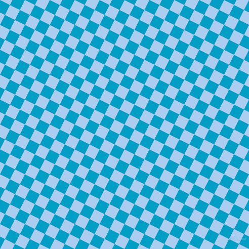 63/153 degree angle diagonal checkered chequered squares checker pattern checkers background, 22 pixel square size, , Pacific Blue and Pale Cornflower Blue checkers chequered checkered squares seamless tileable