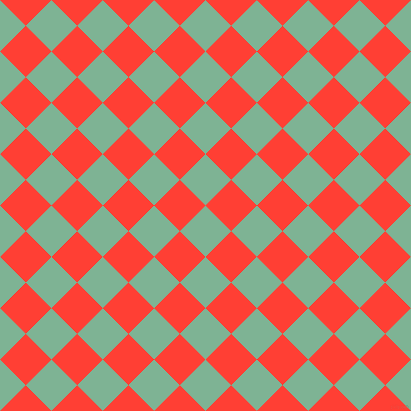 45/135 degree angle diagonal checkered chequered squares checker pattern checkers background, 72 pixel square size, , Padua and Red Orange checkers chequered checkered squares seamless tileable