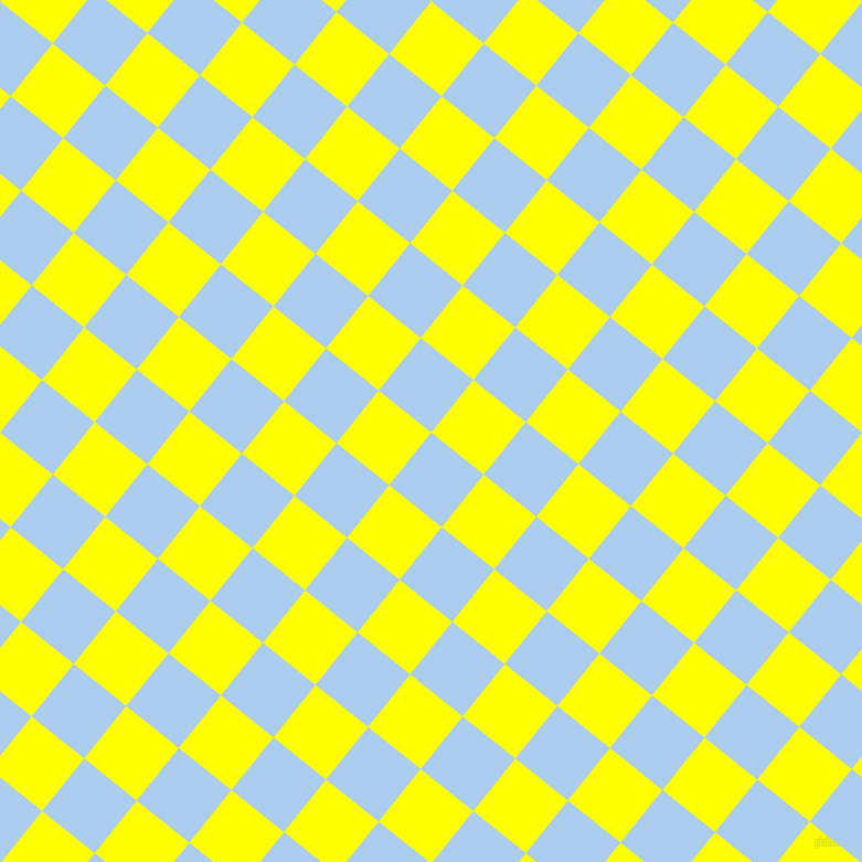 51/141 degree angle diagonal checkered chequered squares checker pattern checkers background, 61 pixel squares size, , Pale Cornflower Blue and Yellow checkers chequered checkered squares seamless tileable