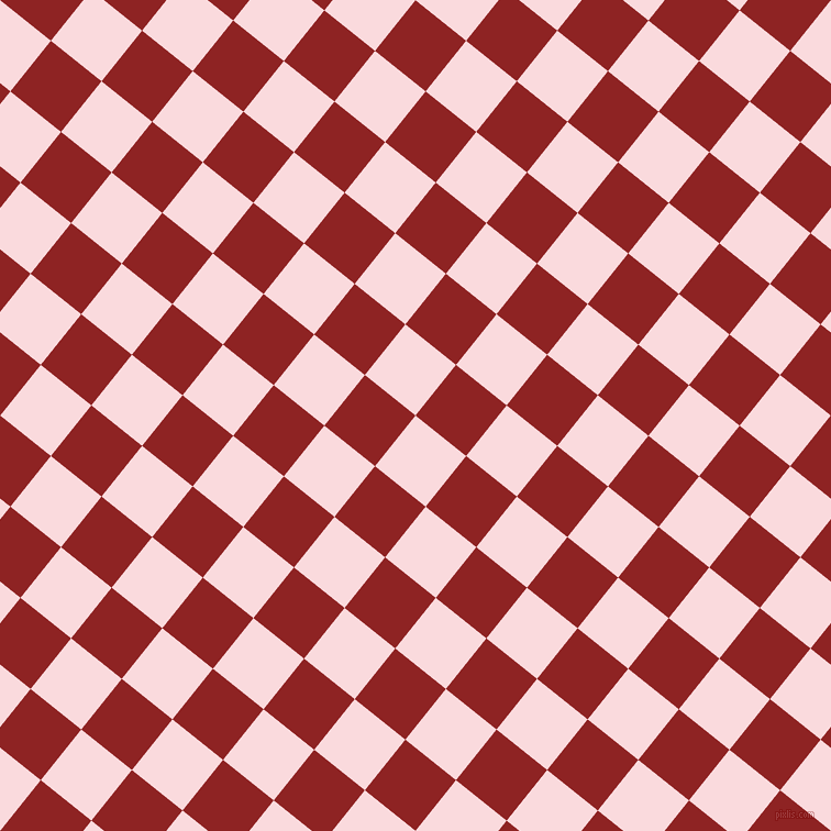 51/141 degree angle diagonal checkered chequered squares checker pattern checkers background, 59 pixel square size, , Pale Pink and Mandarian Orange checkers chequered checkered squares seamless tileable