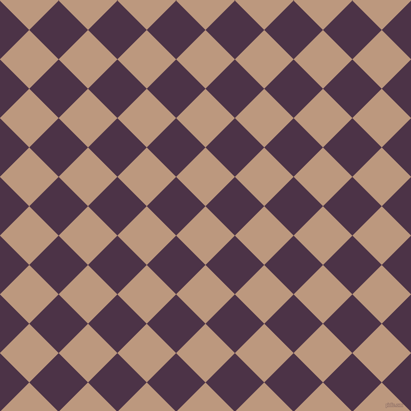 45/135 degree angle diagonal checkered chequered squares checker pattern checkers background, 85 pixel square size, , Pale Taupe and Loulou checkers chequered checkered squares seamless tileable