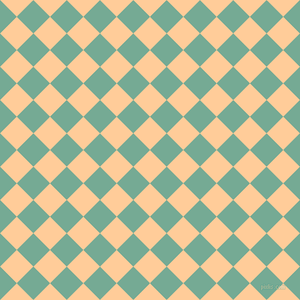 45/135 degree angle diagonal checkered chequered squares checker pattern checkers background, 34 pixel square size, , Peach-Orange and Acapulco checkers chequered checkered squares seamless tileable