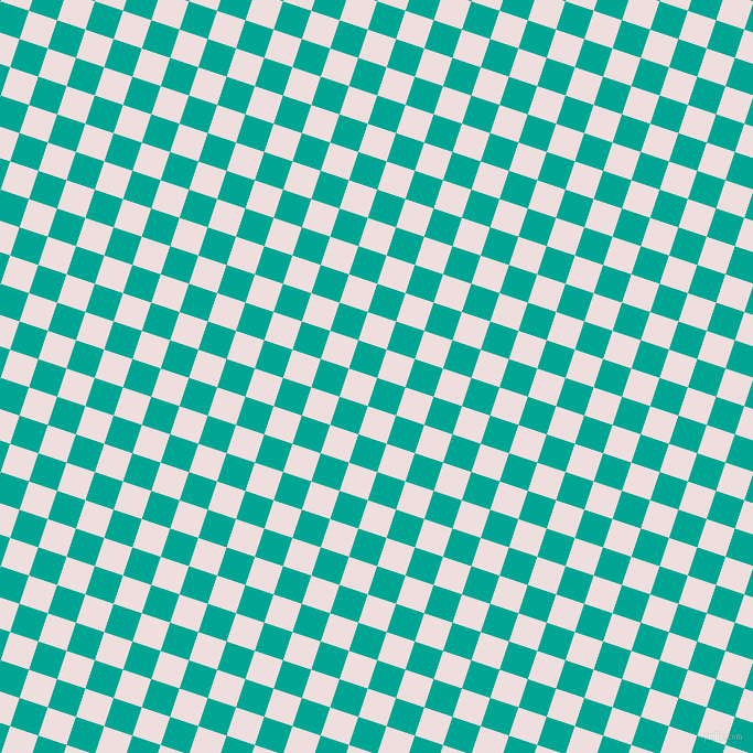 72/162 degree angle diagonal checkered chequered squares checker pattern checkers background, 27 pixel squares size, , Persian Green and Soft Peach checkers chequered checkered squares seamless tileable