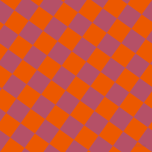 54/144 degree angle diagonal checkered chequered squares checker pattern checkers background, 58 pixel squares size, , Persimmon and Blush checkers chequered checkered squares seamless tileable