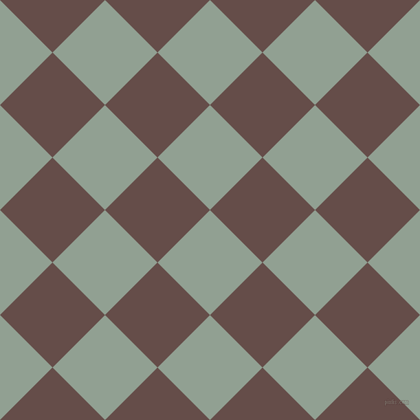 45/135 degree angle diagonal checkered chequered squares checker pattern checkers background, 108 pixel squares size, , Pewter and Congo Brown checkers chequered checkered squares seamless tileable