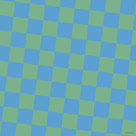84/174 degree angle diagonal checkered chequered squares checker pattern checkers background, 62 pixel squares size, , Picton Blue and Bay Leaf checkers chequered checkered squares seamless tileable