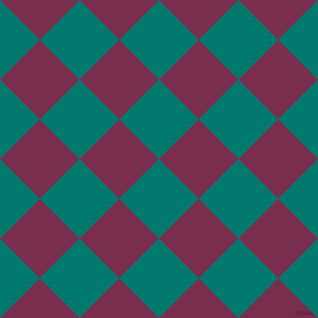 45/135 degree angle diagonal checkered chequered squares checker pattern checkers background, 112 pixel square size, , Pine Green and Flirt checkers chequered checkered squares seamless tileable