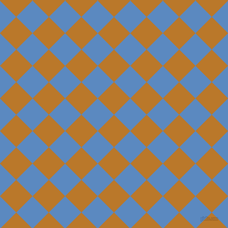 45/135 degree angle diagonal checkered chequered squares checker pattern checkers background, 47 pixel square size, Pirate Gold and Danube checkers chequered checkered squares seamless tileable