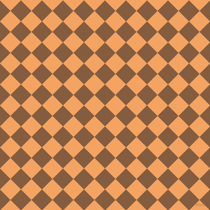 45/135 degree angle diagonal checkered chequered squares checker pattern checkers background, 51 pixel squares size, , Potters Clay and Sandy Brown checkers chequered checkered squares seamless tileable