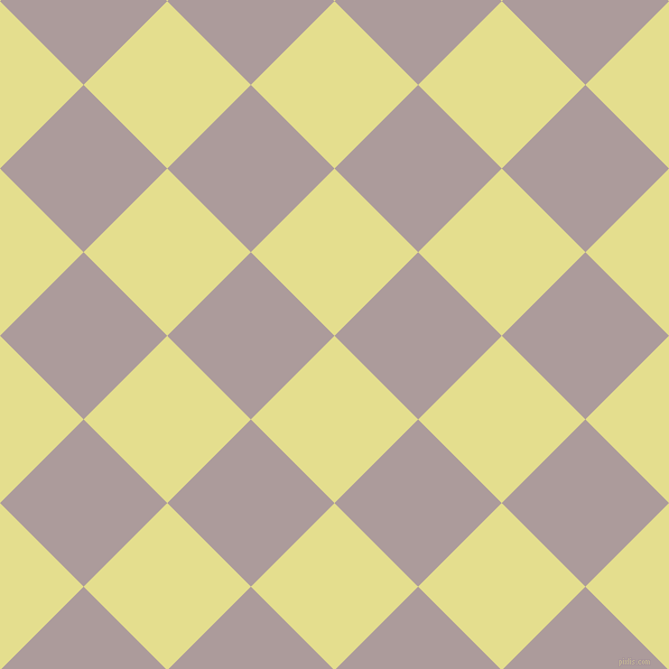 45/135 degree angle diagonal checkered chequered squares checker pattern checkers background, 131 pixel squares size, , Primrose and Dusty Grey checkers chequered checkered squares seamless tileable