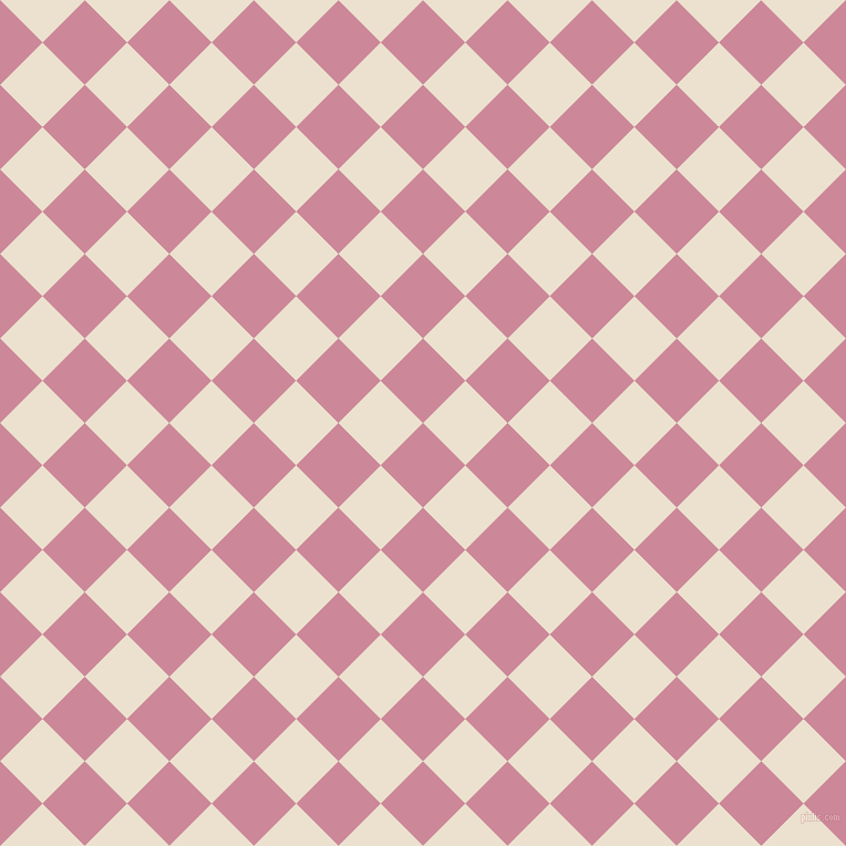 45/135 degree angle diagonal checkered chequered squares checker pattern checkers background, 54 pixel squares size, , Puce and Bleach White checkers chequered checkered squares seamless tileable