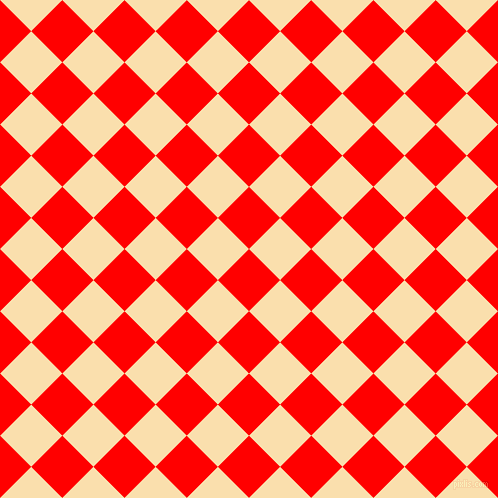 45/135 degree angle diagonal checkered chequered squares checker pattern checkers background, 44 pixel square size, , Red and Peach-Yellow checkers chequered checkered squares seamless tileable