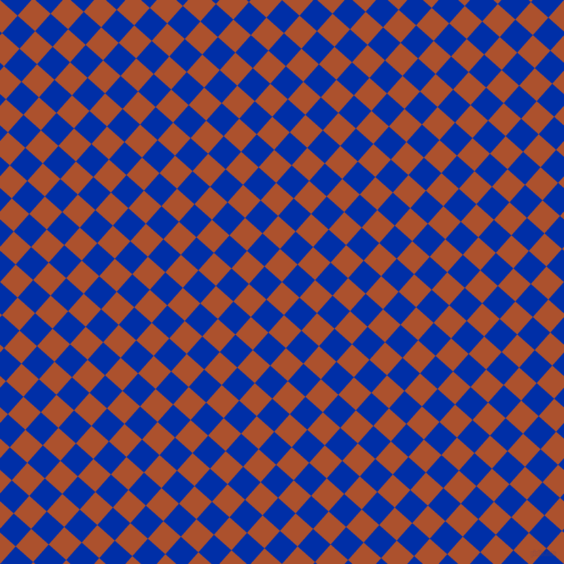 48/138 degree angle diagonal checkered chequered squares checker pattern checkers background, 33 pixel square size, , Rose Of Sharon and International Klein Blue checkers chequered checkered squares seamless tileable