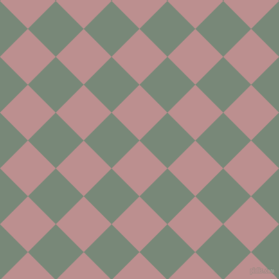 45/135 degree angle diagonal checkered chequered squares checker pattern checkers background, 57 pixel square size, , Rosy Brown and Davy