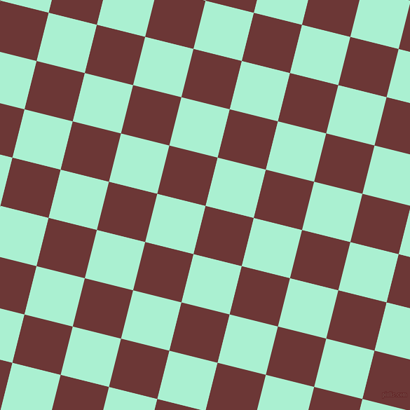 76/166 degree angle diagonal checkered chequered squares checker pattern checkers background, 71 pixel square size, , Sanguine Brown and Magic Mint checkers chequered checkered squares seamless tileable