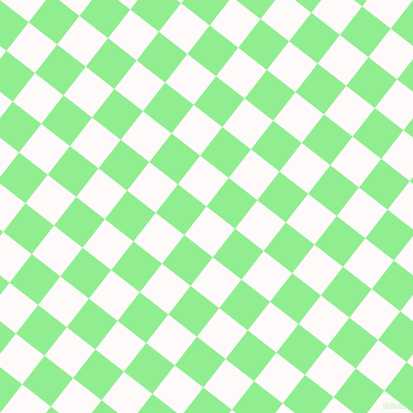 52/142 degree angle diagonal checkered chequered squares checker pattern checkers background, 52 pixel squares size, , Snow and Light Green checkers chequered checkered squares seamless tileable