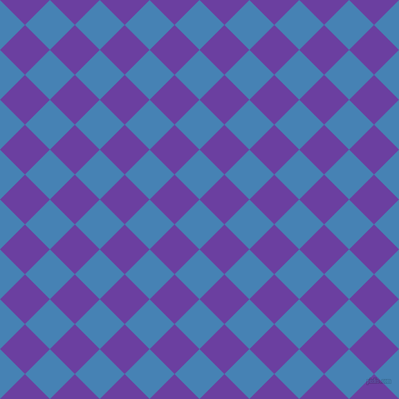 45/135 degree angle diagonal checkered chequered squares checker pattern checkers background, 51 pixel square size, , Steel Blue and Royal Purple checkers chequered checkered squares seamless tileable