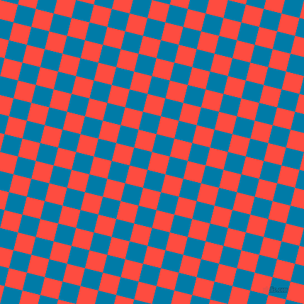 76/166 degree angle diagonal checkered chequered squares checker pattern checkers background, 26 pixel squares size, , Sunset Orange and Cerulean checkers chequered checkered squares seamless tileable