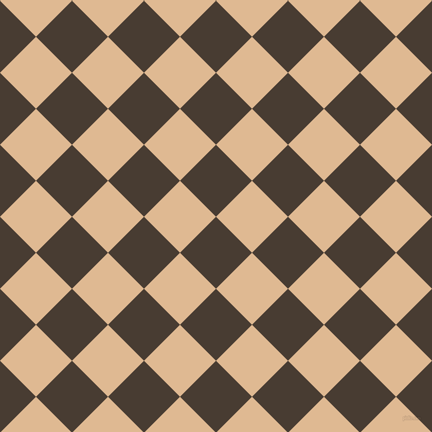 45/135 degree angle diagonal checkered chequered squares checker pattern checkers background, 99 pixel square size, , Taupe and Pancho checkers chequered checkered squares seamless tileable