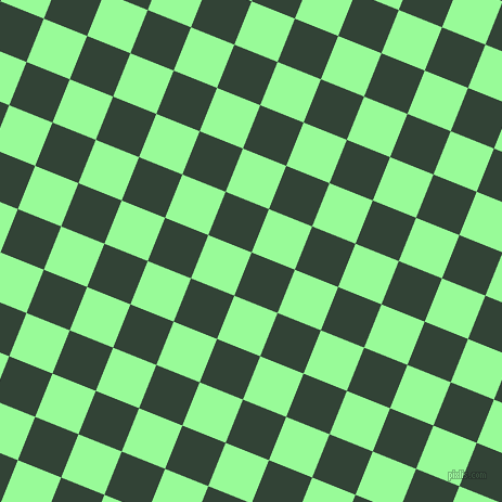 68/158 degree angle diagonal checkered chequered squares checker pattern checkers background, 43 pixel square size, , Timber Green and Pale Green checkers chequered checkered squares seamless tileable