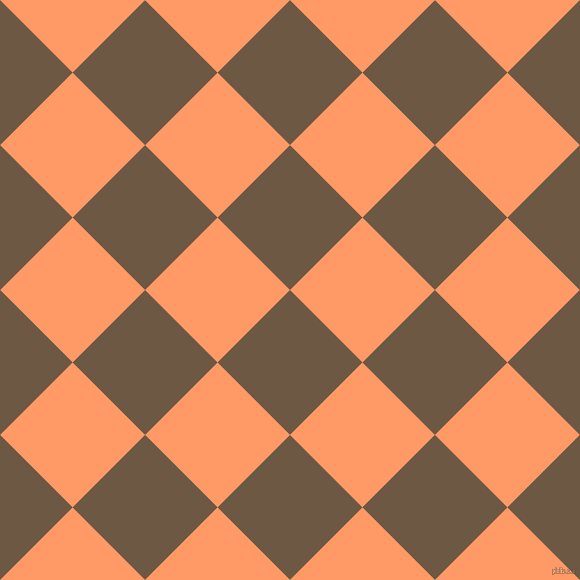 45/135 degree angle diagonal checkered chequered squares checker pattern checkers background, 147 pixel square size, , Tobacco Brown and Atomic Tangerine checkers chequered checkered squares seamless tileable