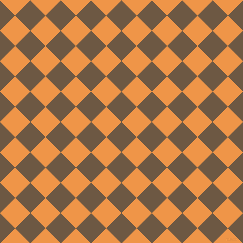 45/135 degree angle diagonal checkered chequered squares checker pattern checkers background, 71 pixel squares size, , Tobacco Brown and Sea Buckthorn checkers chequered checkered squares seamless tileable