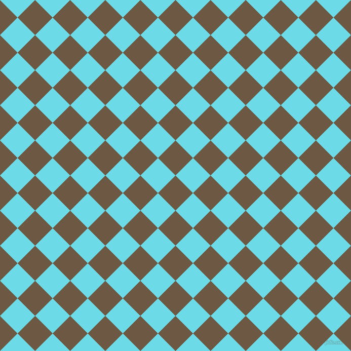 45/135 degree angle diagonal checkered chequered squares checker pattern checkers background, 49 pixel square size, , Tobacco Brown and Turquoise Blue checkers chequered checkered squares seamless tileable